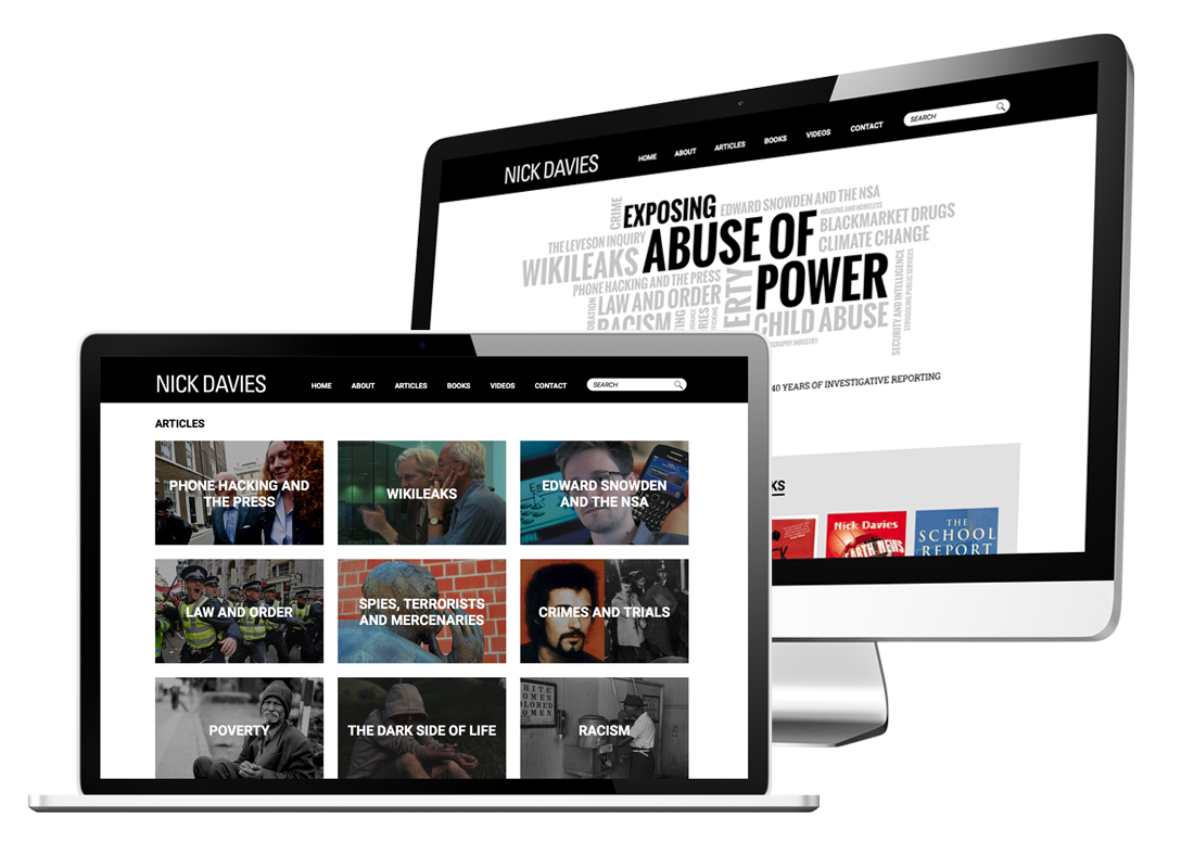 Nick Davies Website Design | Category Organisation and Archiving | CSS Animation | Visit Site
