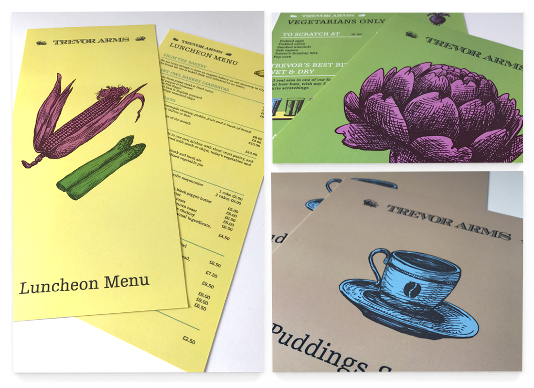 Trevor Arms Brand development | Marketing Material | Menu Design
