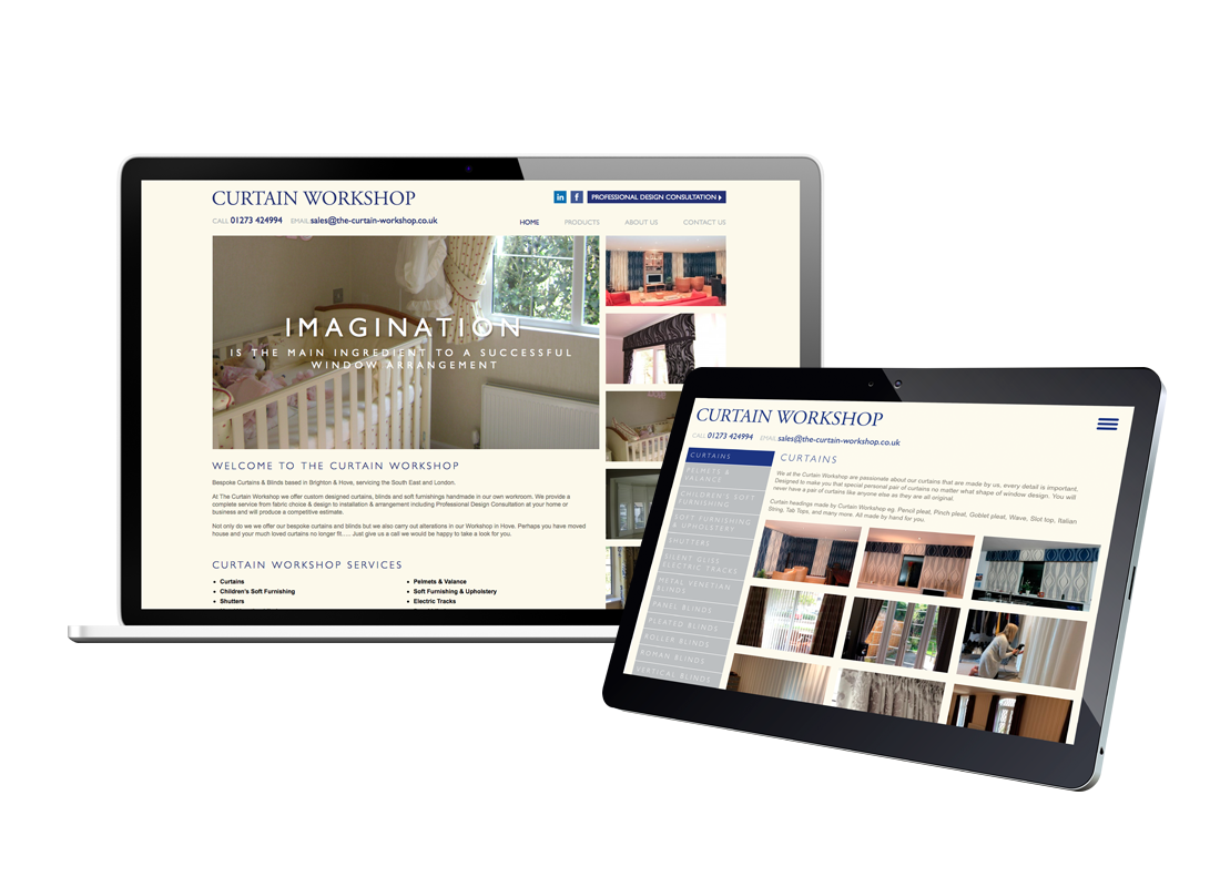 Curtain Workshop Website Design | Wordpress Development | Custom Gallery