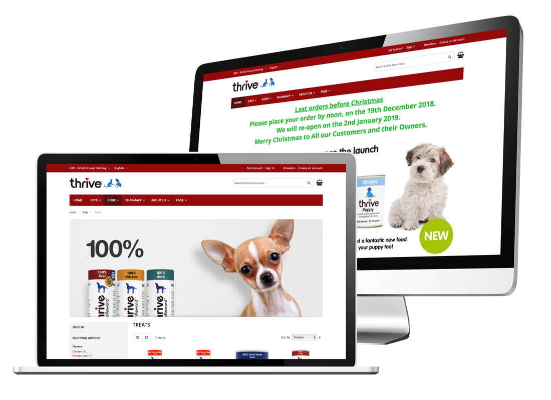 Thrive Pet Foods Website Design and Build | Magento 2 Development